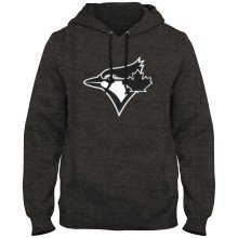 Toronto Blue Jays MLB Shadow Express Twill Logo Hoodie - Twisted Charcoal