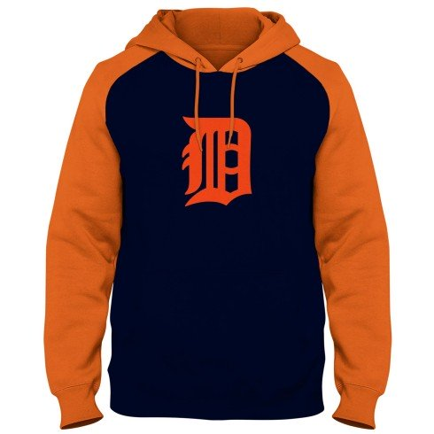 Detroit Tigers MLB Express Twill Logo Raglan Hoodie - Navy/Orange