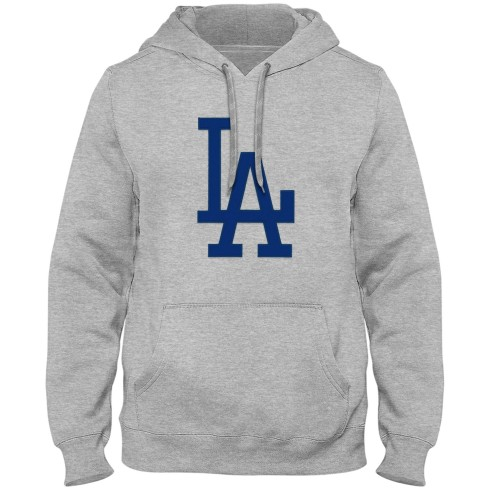 Los Angeles Dodgers MLB Express Twill Logo Hoodie Blue Logo - Athletic Gray