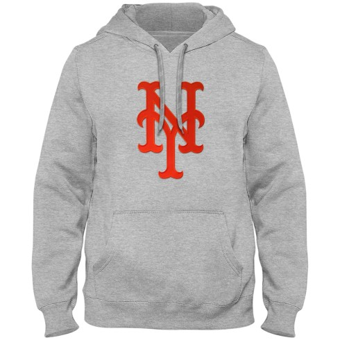 New York Mets MLB Express Twill Logo Hoodie - Athletic Gray