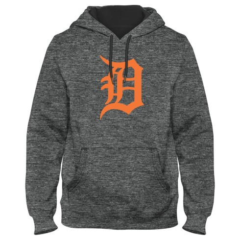Detroit Tigers MLB Poly Express Twill Logo Hoodie - Grey Melange