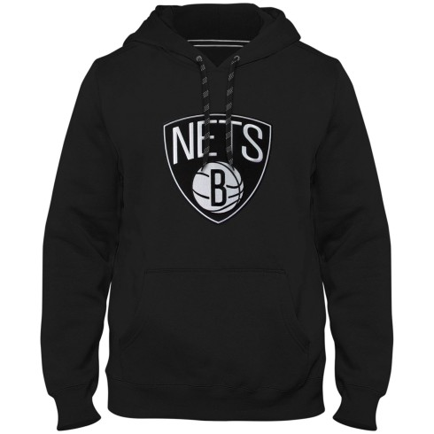 Brooklyn Nets NBA Express Twill Logo Hoodie - Black
