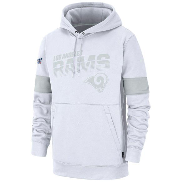 Los Angeles Rams Nike White NFL 100 2019 Sideline Platinum Performance Hoodie