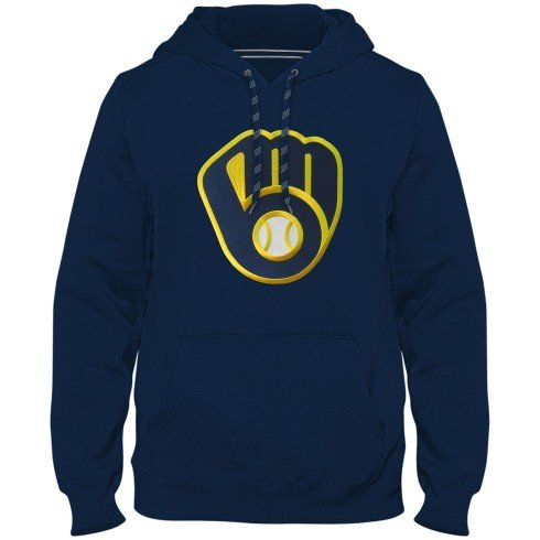 Milwaukee Brewers MLB Express Twill Logo Hoodie - Navy
