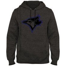 Toronto Blue Jays MLB Back in Black Express Twill Logo Hoodie - Twisted Charcoal