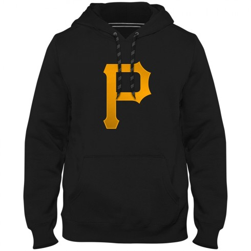Pittsburgh Pirates MLB Express Twill Logo Hoodie - Black