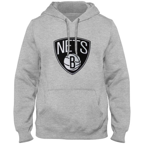Brooklyn Nets NBA Express Twill Logo Hoodie - Athletic Gray