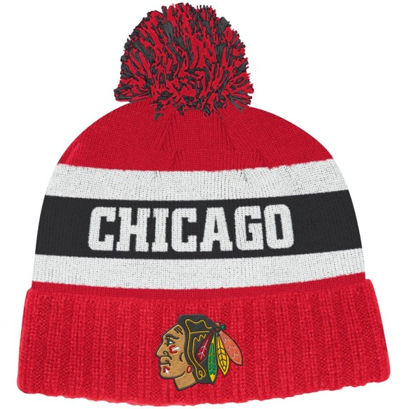 Chicago Blackhawks adidas NHL City Name Cuffed Pom Knit Hat