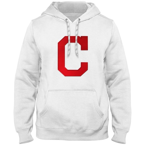 Cleveland Indians MLB Express Twill Logo Hoodie - White