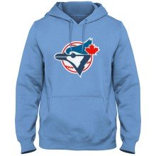 Toronto Blue Jays MLB Twill Logo Hoodie Cooperstown - Light Blue