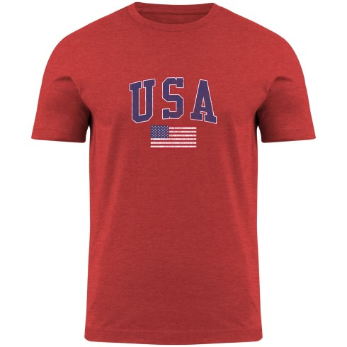 USA MyCountry Vintage Jersey T-Shirt - Red Heather