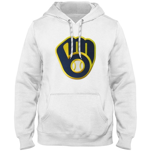 Milwaukee Brewers MLB Express Twill Logo Hoodie - White