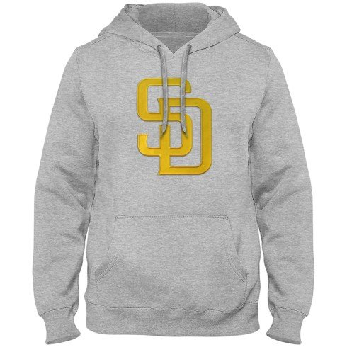 San Diego Padres MLB Express Twill Logo Hoodie - Athletic Gray