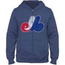 Montreal Expos YOUTH Distressed Logo Full-Zip Hoodie - Royal