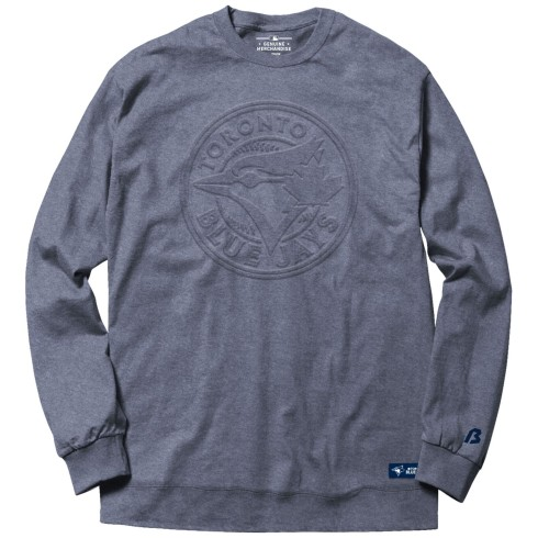 Toronto Blue Jays MLB Embossed Crew Sweatshirt - Heather Blue