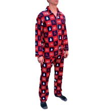 Montreal Canadiens NHL Men's Holiday Ugly 2-Piece Button-Up Pajama Set