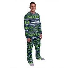 Seattle Seahawks NFL Men's Holiday Wordmark Ugly 2 Piece Pajama Set