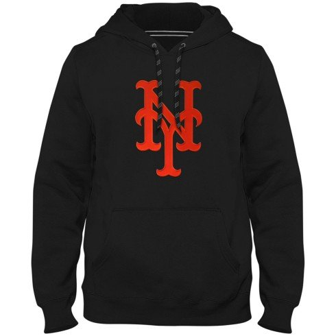 New York Mets MLB Express Twill Logo Hoodie - Black