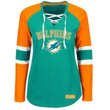 Miami Dolphins Women's Winning Style NFL Lace V-Neck Long Sleeve T-Shirt